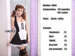 Vente en gros Sous-vêtements sexy mode femmes lingerie sexy Diaphanous pyjama vêtements de nuit taille libre livraison gratuite, femme de chambre uniforme blanc + couleur noire