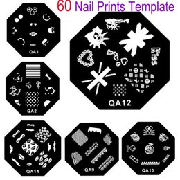 Modèle En Acier Inoxydable À Ongles Pas Cher-10 Pc / lot Nouveau 60 Designs QA Nail Art Ensemble d'estampage de plaques Octagon Acier inoxydable DIY Vernis à ongles Print Manicure Nailed Stencil Template