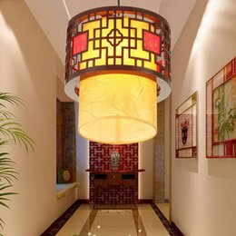 Chinese Style Wooden Teahouse Pendant Lamp Vintage Classic Dining Room Light Balcony Corridor Lights