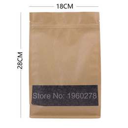 bags square bottom NZ - 18x28+8cm (7x11+3in) Kraft Paper Packaging Bags Food tea coffee Paper Bag Flat bottom Zipper top Kraft paper Bag Zip Packaging