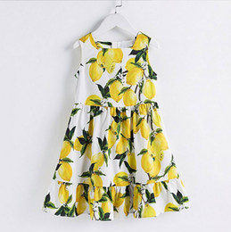 China Retail High grade Girls Dresses Lemon Print cotton Sleeveless Thin Sundress Holiday Beach Dress Children Clothing 3-14Y YQ829 cheap girls holiday clothing suppliers