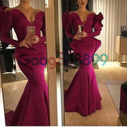 1905835cd047 Long sLeeve red bandage dress online shopping - Banquet Grape Purple Long  Sleeve Mermaid Evening Formal
