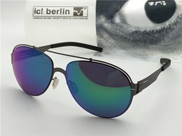 Germany coat online shopping - Germany designer brand sunglasses IC ruck blick ultra light without screw memory alloy removable metal frame coated reflective lens UV
