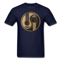 China Wholesale- Men Man's Printing Acoustic Guitars Yin Yang Tee Shirt Custom Short Sleeve Boyfriend's Tshirt For Men cheap guitar fashion suppliers