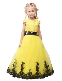 $enCountryForm.capitalKeyWord UK - 2019 Pageant Dress Little Princess Glitz Ball Gown Lace Yellow Ball Gown Cute Flower Girl Dress With Black Sash