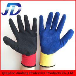 I polsini in maglia da 100 litri con rivestimento in nylon e guanti da lavoro rivestiti in lattice con il produttore di guanti in porcellana
