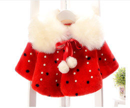 Girls Cotton Poncho Wholesale Canada - 2017 Spring Winter Girls Poncho Baby Girl Fur Collar Shawl Outwear Cute Kids Cape With Inlaid Pearl For 0-4 Years Baby