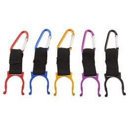 China Wholesale-5Pcs Aluminum Carabiner Water Bottle Buckle Hook Holder Clip For Camping Hiking Traveling Key Chain Multi-color Drop Shipping cheap water bottle holder for camping suppliers