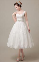 Tea Length Corset Wedding Dresses Online Lace Corset Wedding