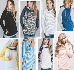 Barato Vestuário De Inverno Feminino-Mulheres Finger Hoodie Digital Print Coats Zipper Lace Up Luva longa Pullover Winter Blouses Outdoor Sweatshirts Outwear 9 Styles OOA3396