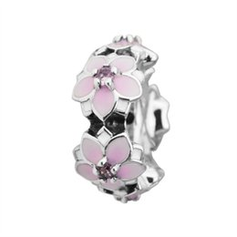 $enCountryForm.capitalKeyWord Australia - Magnolia Bloom Spacer Charms Beads Authentic 925 Sterling Silver Jewelry Crystal Enamel Flower Stopper Bead For DIY Brand Bracelets Making