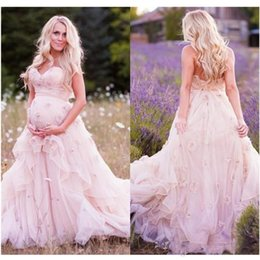 Sweetheart Pregnant Wedding Dress NZ - Backless A Line Wedding Dresses Pregnant Organza Tiered Baby Shower Party Custom Made Fashion Sweetheart Bridal Gowns Pure Pink
