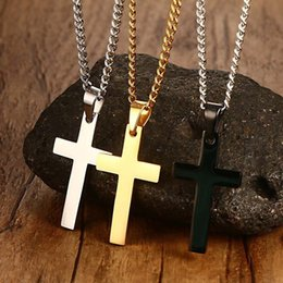 $enCountryForm.capitalKeyWord NZ - Unisex Stainless Steel Cross Pendant Necklaces Chain Necklace Statement Charm Popular Jewelry gifts Fashion Accessories free shipping