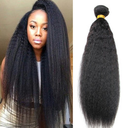Discount mongolian afro kinky straight hair weave - Grade 8A Mink Unprocessed Brazilian Virgin Afro Kinky Straight Hair Weft 3Pcs Lot Hair Weaves Best Afro Kinky Straight H