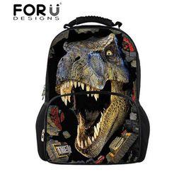 Character Backpacks For Boys Canada - Cool Printing Dinosaur Backpack for School Boys Unique Men's Crazy Horse Backpack High School Children Laptop Bagpacks
