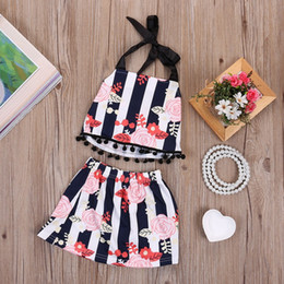 Wholesale newborn toddler baby designer girl clothing set kids suit porn outfit cool tops skirt floral black bodysuit fringe western dress