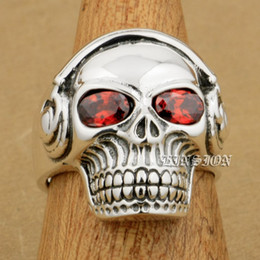 $enCountryForm.capitalKeyWord NZ - LINSION Red CZ Eyes 925 Sterling Silver DJ Skull Studio Music Headphone Mens Boys Biker Rock Punk Ring 8Y211 US Size 7 to 15