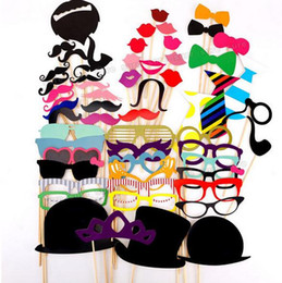 funny photobooth props NZ - photobooth props 58pcs set Funny party decoration with lips beard moustaches glasses spider and sticks wedding Decoration Prop