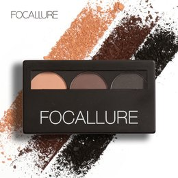 Wholesale Focallure Eyebrow Powder Colors Eye brow Powder Palette Waterproof and Smudge Proof With Mirror and Eyebrow Brushes Inside free DHL