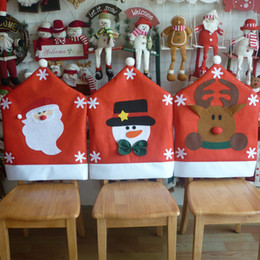 Wholesale 1PC Lovely Santa Claus Snowman Elk Deer Christmas Dining Room Chair Seat Back Cover Home Party Decor Xmas Table Accessory