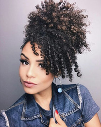 curly ponytails for black women Canada - Short High Ponytail Afro Puff Curly Ponytail Hair Extension Brown Indian Virgin Hair Drawstring Ponytail For Black Women