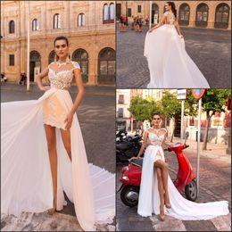 Discount simple unique wedding dress sleeves - Unique Design Short Sheath Wedding Dresses with Long Chiffon Detachable Train 2018 Cap Sleeve with Lace Appliques Bridal