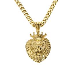 "$enCountryForm.capitalKeyWord UK - Hip hop Men Stainless Steel King Crown Lion Head Pendant Necklace Gold Color Punk Animal Pendant 24"" Cuban Chain Jewelry"