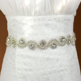 organza wedding dresses flower belt NZ - White Bridal Sash Wedding Princess Rhinestone Belt Girl Flower Bridesmaid Dress Sash Wedding Accessories Organza Ribbon