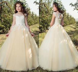 Cheap Cream Cap Sleeves Lace 2017 Flower Girl Dresses Tulle Lace Up Vintage  Tulle Little Girls Pageant Birthday Gowns