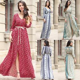 a9b4ca0dd09 Women Lady Girls Casual Summer V-neck Collar Blue Chiffon Floral Fashion  Long Dress Skirts Clothes 3358