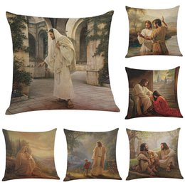 Discount jesus covers Retro Jesus Linen Cushion Cover Home Office Sofa Square Pillow Case Decorative Cushion Covers Pillowcases Without Insert