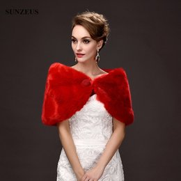 Barato Xale Curto Roubou-Capa Ivory Red Evening Shawls Bolo Bridal Curto Wraps Faux Fur Rouquidão Short Winter Wedding Dress Shrugs
