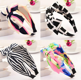 Hair Head Hoop NZ - Free shipping Rabbit ear ribbons Chiffon hair bands Ultra wide side big bow knives head hoop female TG182 mix order 30 pieces a lot