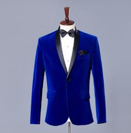 Discount piping design for dresses - Blazer men formal dress latest coat pant designs suit men blue velvet terno masculino trouser marriage wedding suits for