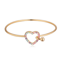 Champagne Color Crystals NZ - New luxury jewelry famous brand champagne color plating heart bangle bracelet made with Swarovski elements crystal best gift