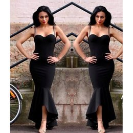 Barato Baile De Formatura Sexy-Black Mermaid Prom Dresses Ocasião Especial Sexy Spaghetti Strap Hi Lo Evening Party Vestidos 2017 Cheap African Fishtail Formal Prom Dress