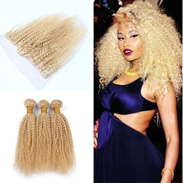 kinky curly weaving hair Canada - Afro Kinky Curly Blonde 613 Human Hair Weaves With Lace Frontal 13x4 613 Kinky Curly Lace Frontal With Blonde Hair Extension 4Pcs lot