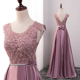 $enCountryForm.capitalKeyWord Canada - Blush Pink 2017 Scoop Lace Evening Dresses A-line Satin Prom Dresses Vintage Cheap Formal Party Gowns