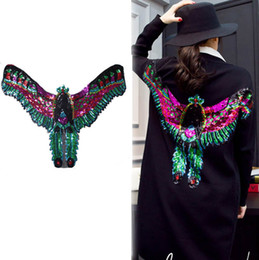 decor eagles Canada - Sew on Sequins Patches Large Eagle Wing Colth DIY Shirt Coat Jacket Punk Decor Motif Applique