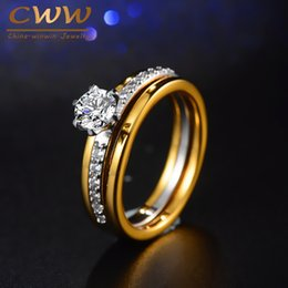 cwwzircons brand two tones color gorgeous cubic zirconia engagement jewelry wedding band ring set for women r088 - Gorgeous Wedding Rings