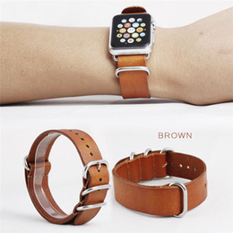 Discount cow apple - 2019 Hot sale 3 colour cow genuine leather watch band iwatch strap one piece watch band for apple watch 38mm 42mm