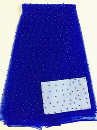 Net fabric for dresses online shopping - 5 Yards pc Top sale royal blue french net lace with beads decoration african mesh lace fabric for party dress RN1