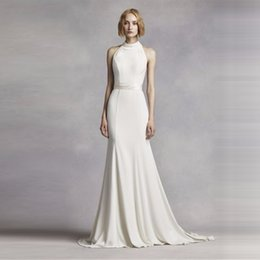mermaid chiffon halter wedding dress 2019 - Elegant Simple High Neck Halter Wedding Dress White Mermaid Sexy Back Sweep train Bridal Gowns High Quality VW351263 che