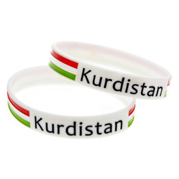 China 1PC Kurdistan Flag Logo Silicone Wristband Soft And Flexible Great For Normal Day To Day Wear suppliers