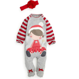 baby clothes feet UK - Christmas Baby Pajamas Cotton Jumpsuit Foot-binding Bodysuit Long Sleeve Outfit Winter Toddler Boy Girl Kid Clothing 0-24M Factory Clothes