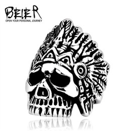 Discount dhgate rings - Dhgate dhgate New Indiana Skull Ring Stainless Steel Punk Exaggerated Jewelry USA Fashion Men's Ring E-packet BR8-2