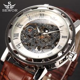 $enCountryForm.capitalKeyWord Australia - SEWOR top brand Luxury Royal Leather Silver Transparent Wristwatches Fashion Casual Business Clock Skeleton Mechanical Watch