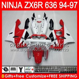 $enCountryForm.capitalKeyWord Canada - 8Gifts 23Colors For KAWASAKI NINJA ZX636 ZX6R 94 95 96 97 ZX-6R ZX-636 white red 33HM12 600CC ZX 636 ZX 6R 1994 1995 1996 1997 Fairing kit