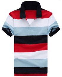 Venta al por mayor de Moda de lujo 2017 Hombres de Negocios Camisas POLO Casual Transpirable Camisa de Polo de Manga Corta de Algodón Hombre Camisa Rainbow Polos Rayados Pequeño Caballo