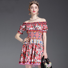 Barato Designer Mini Vestidos Sexy-New Fashion 2017 Runway Designer Vestido de verão Women's Off the Shoulder Slash neck Charming Sexy Rose Floral Printed Short Dress